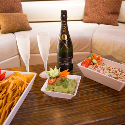 Luxury yacht charters boat rentals welcome snacks and champagne